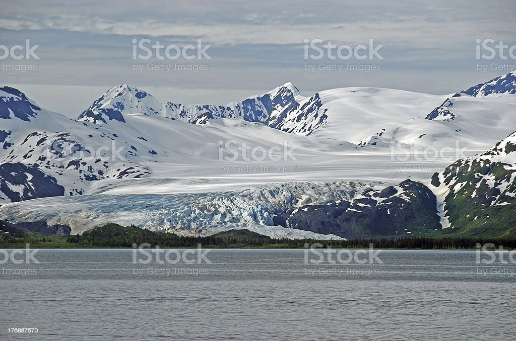 Ice, Clouds, and Ocean in Alaska stock photo