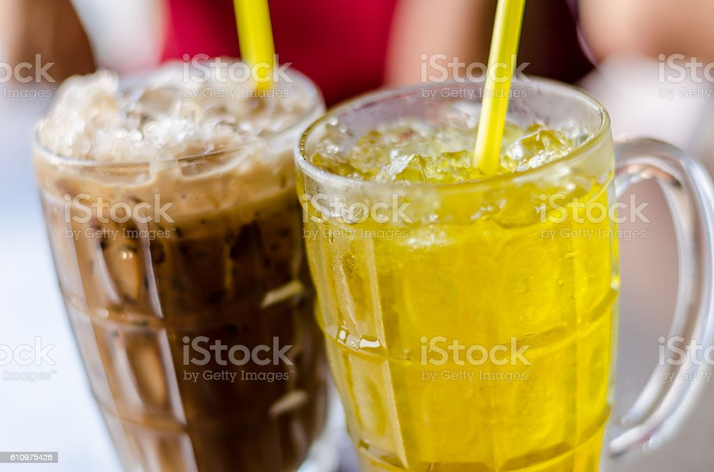 Ice coffee and Chrysanthemum tea in summer time stock photo