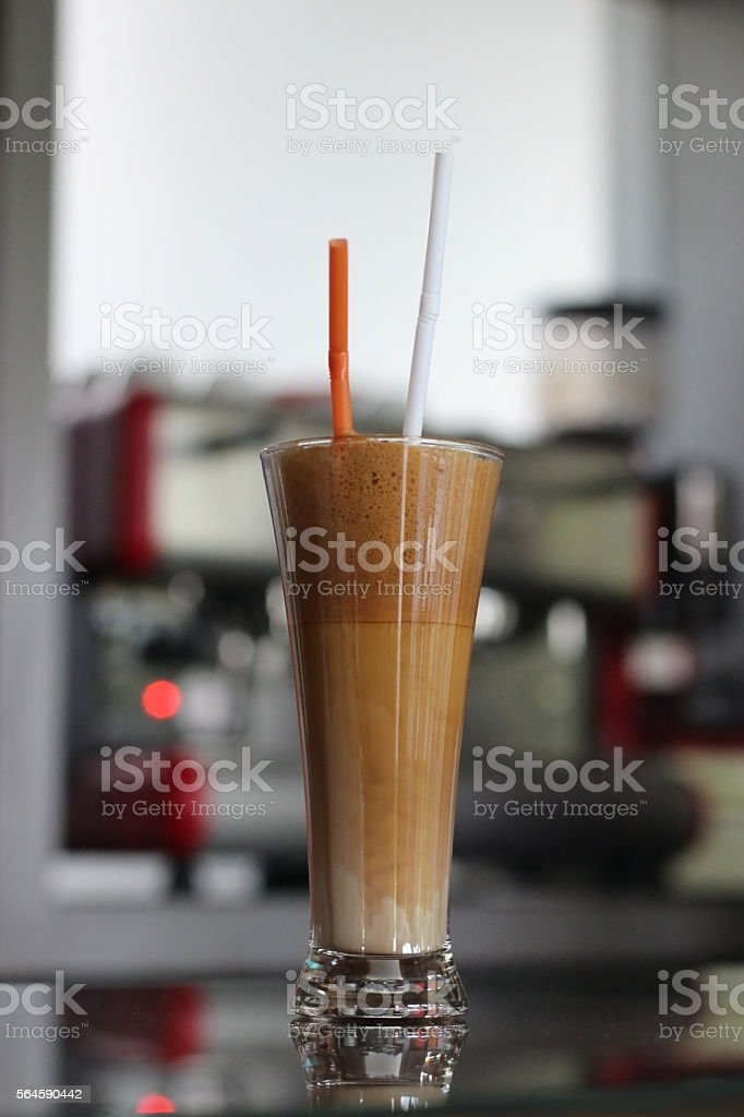 Ice coffee long glass stock photo