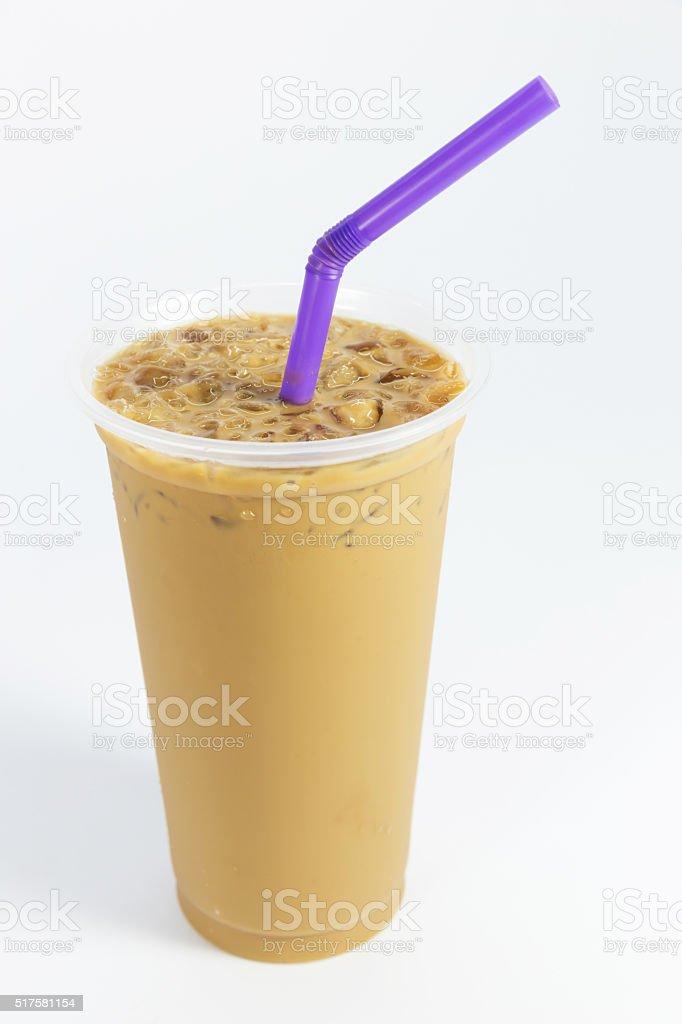 Ice coffee on white background stock photo