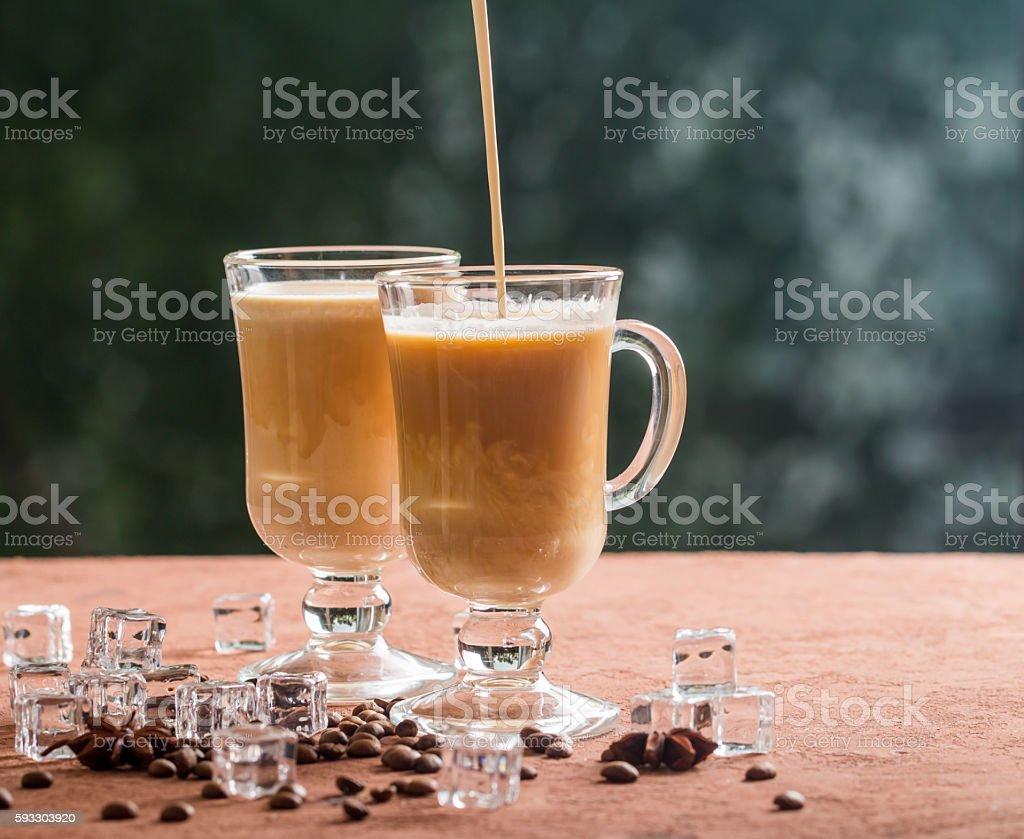 Ice coffee with milk stock photo