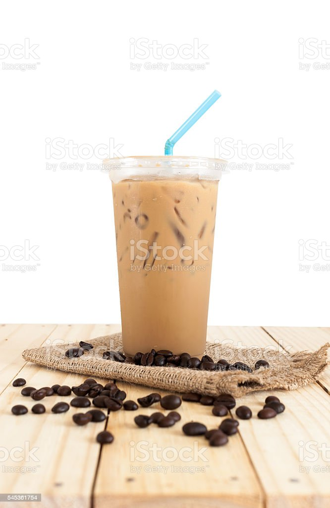 Ice coffee with milk sweet drink isolatedd, Clipping path stock photo