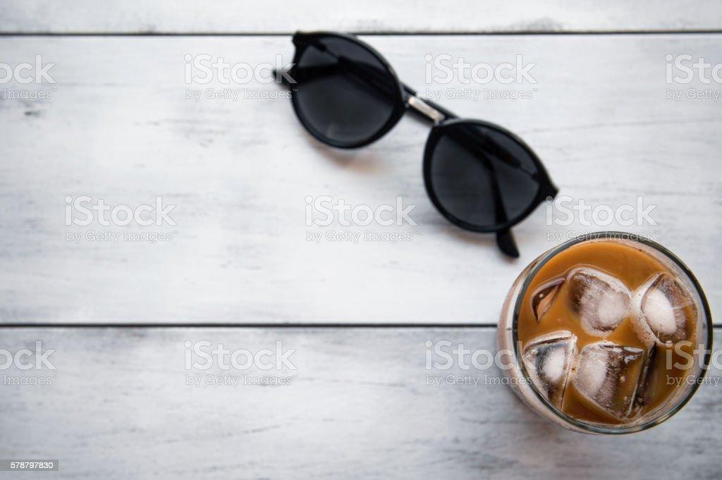 Ice Coffee with sunglasses stock photo