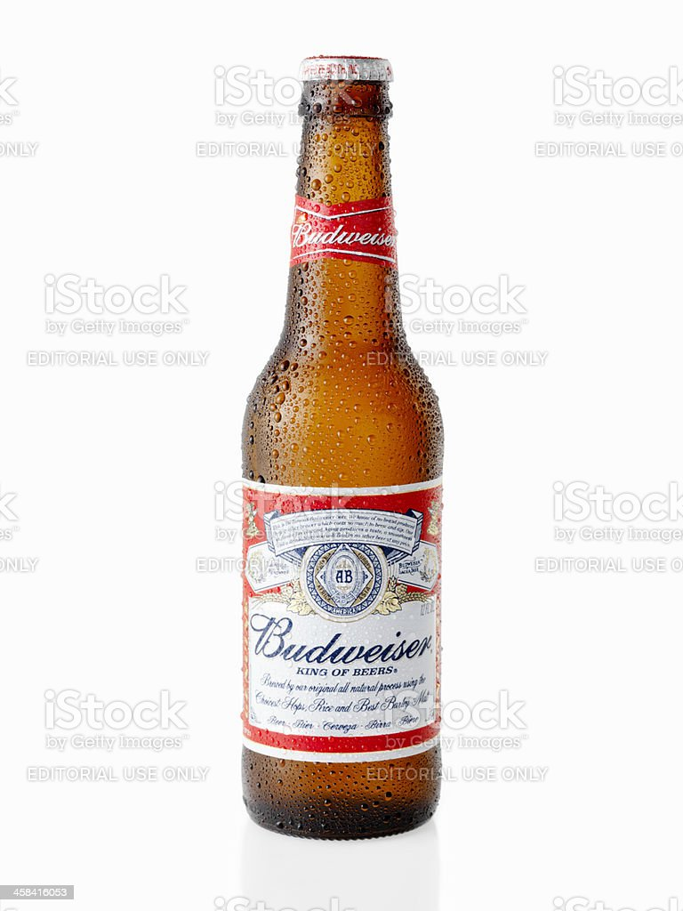 Ice Cold Bottle of Budweiser Beer stock photo