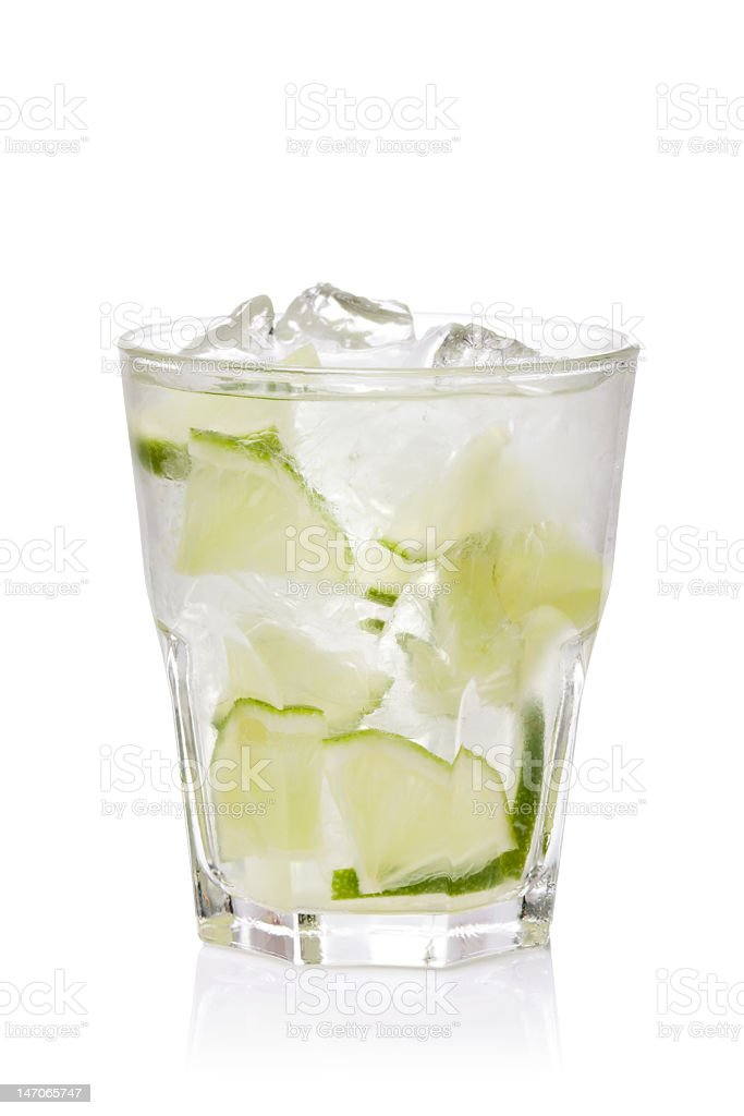 Ice cold glass of fresh squeezed lemonade stock photo