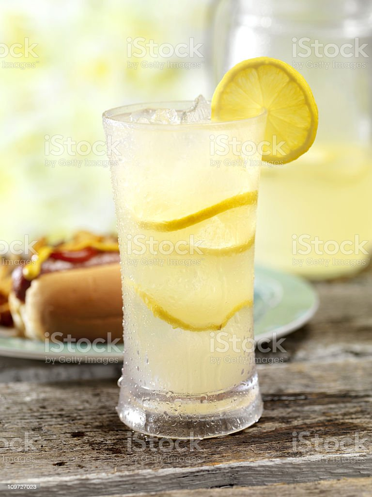 Ice Cold Lemonade and a Hot Dog royalty-free stock photo