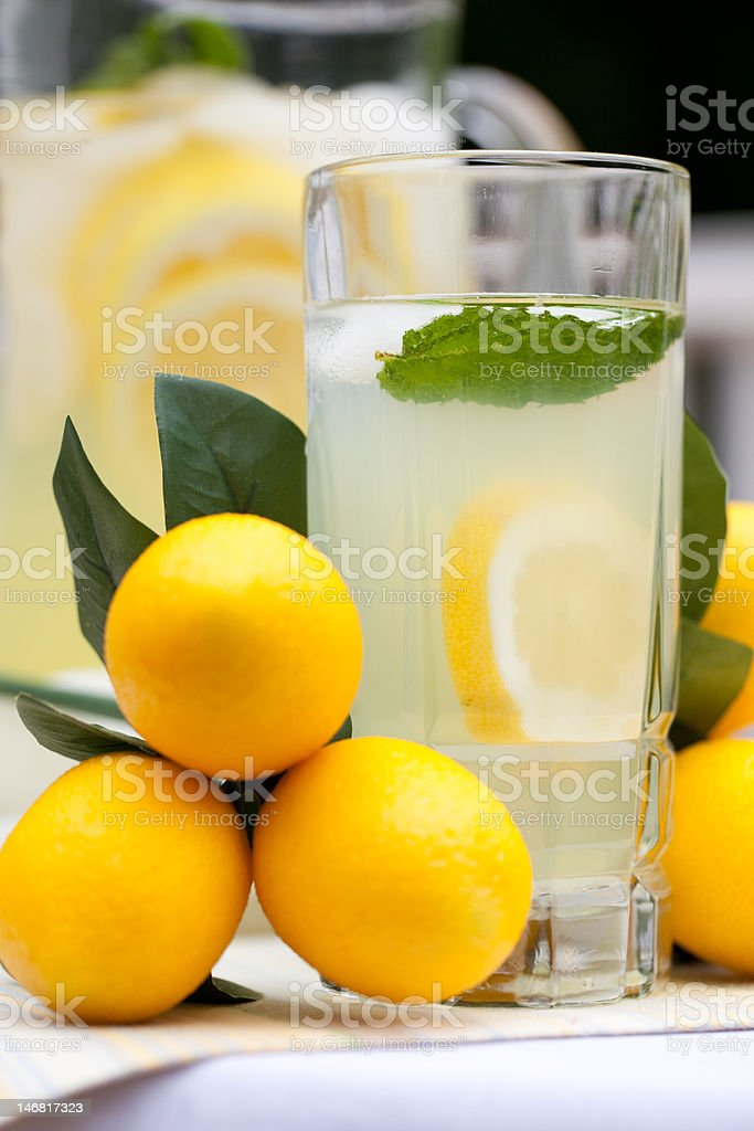 Ice Cold Lemonade With Mint royalty-free stock photo