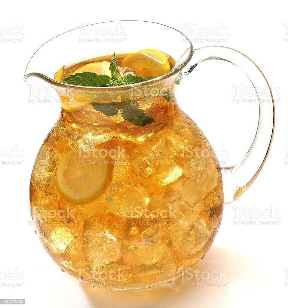 Ice cold pitcher of iced tea stock photo