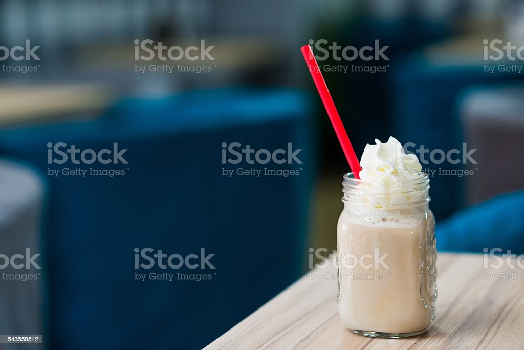 Ice cold, refreshing frappe coffee stock photo