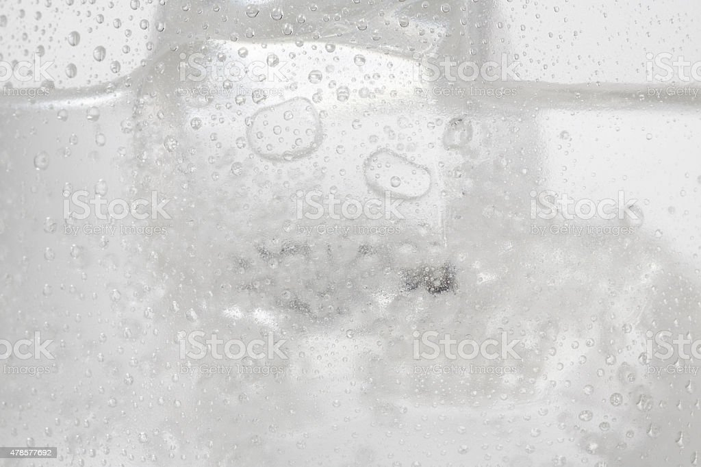 Ice cold  Water glass   Covered with water drops  condensation stock photo