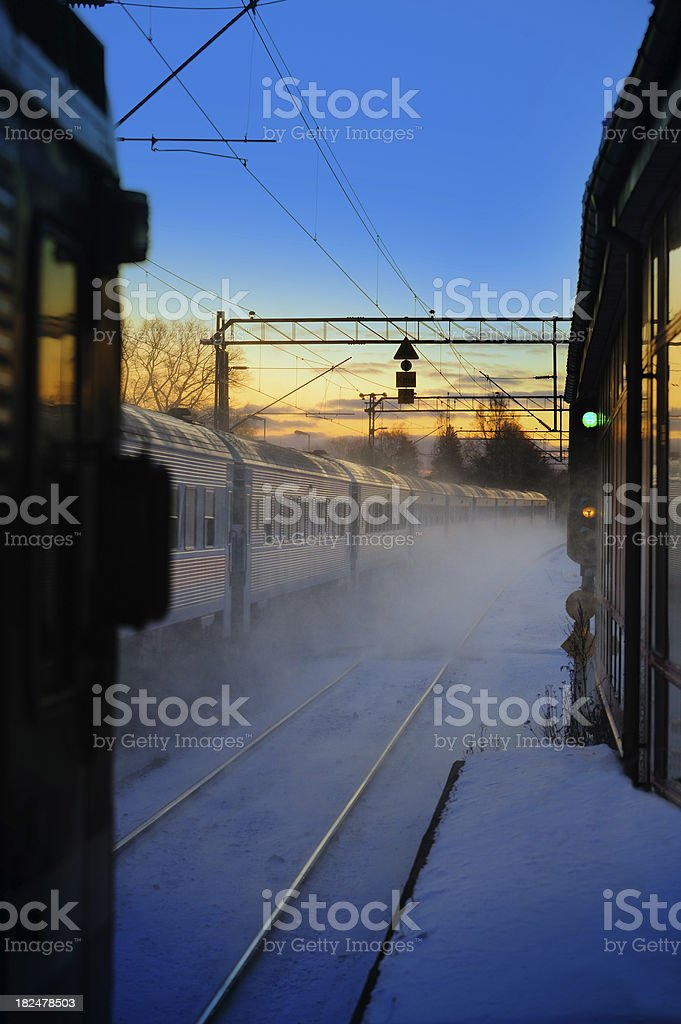 Ice cold winter train royalty-free stock photo