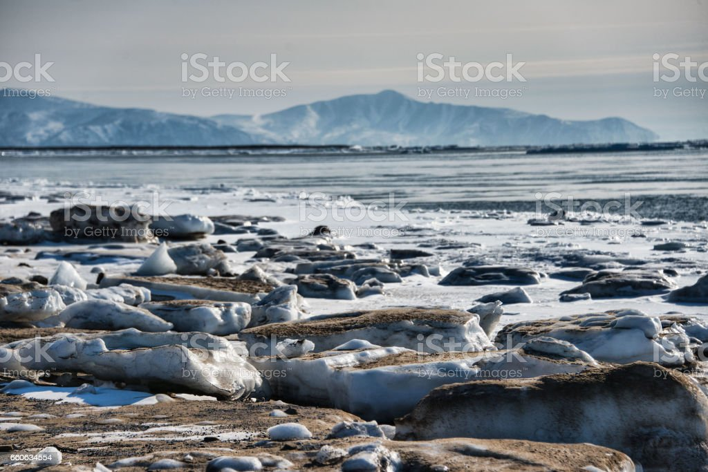 Ice cover on the Sea of Okhotsk stock photo