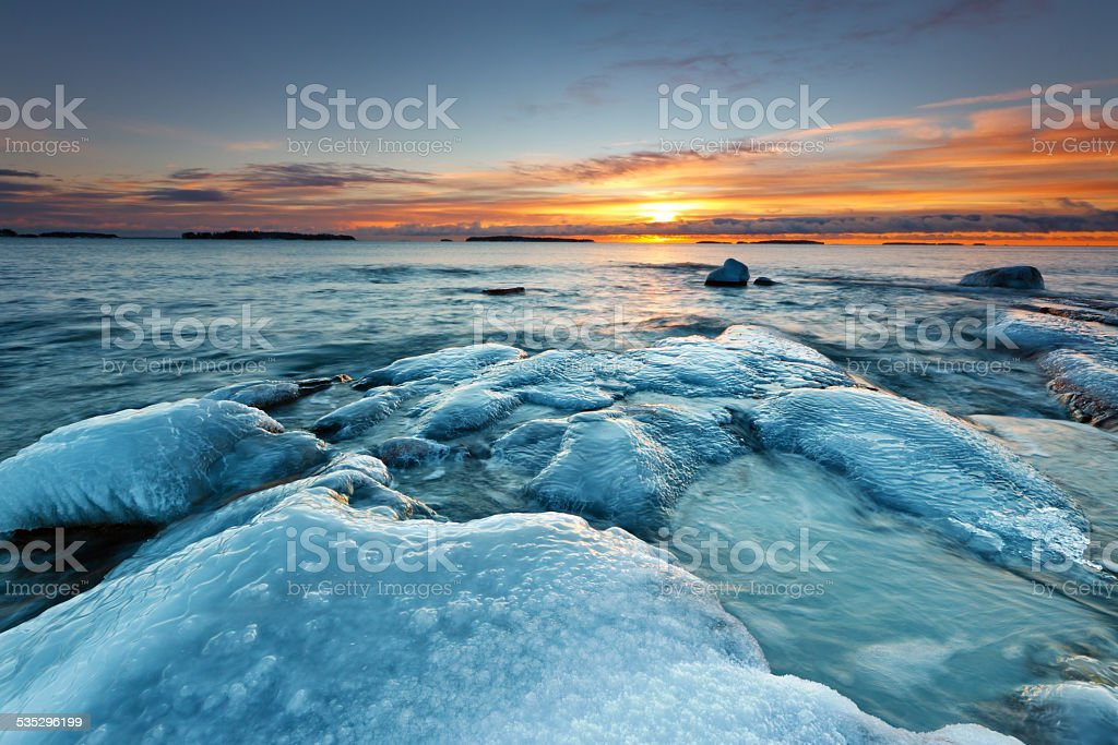 Ice covered rocks royalty-free stock photo