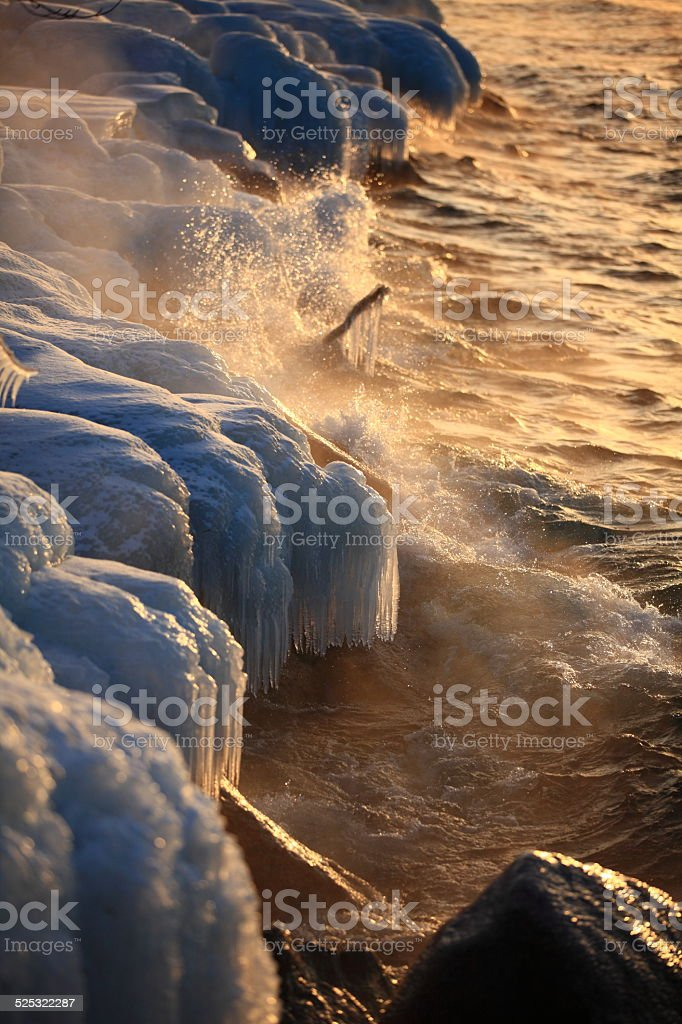 Ice covered tree branch and rocks shore stock photo