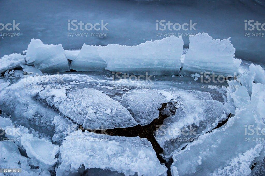 Ice cracked open stock photo