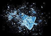 Ice crash explosion parts on black background