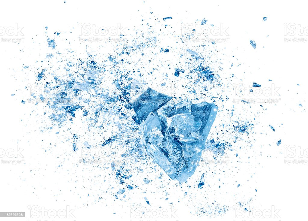 Ice crash explosion parts on white background stock photo