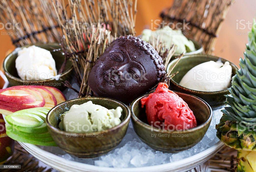 Ice cream and chocolate stock photo