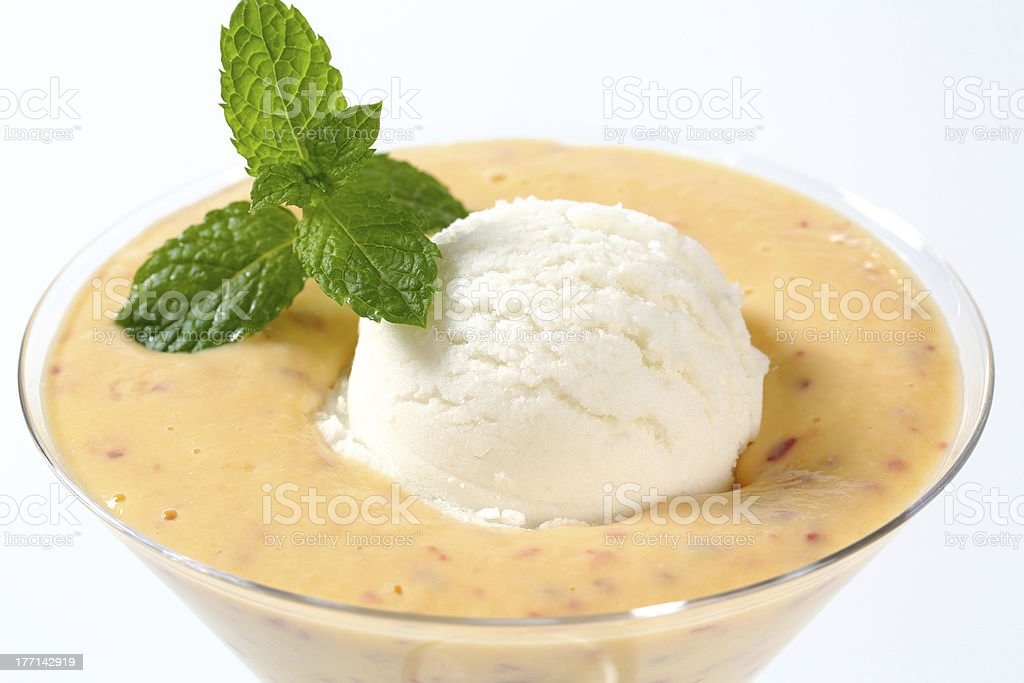 ice cream and fruit purée royalty-free stock photo