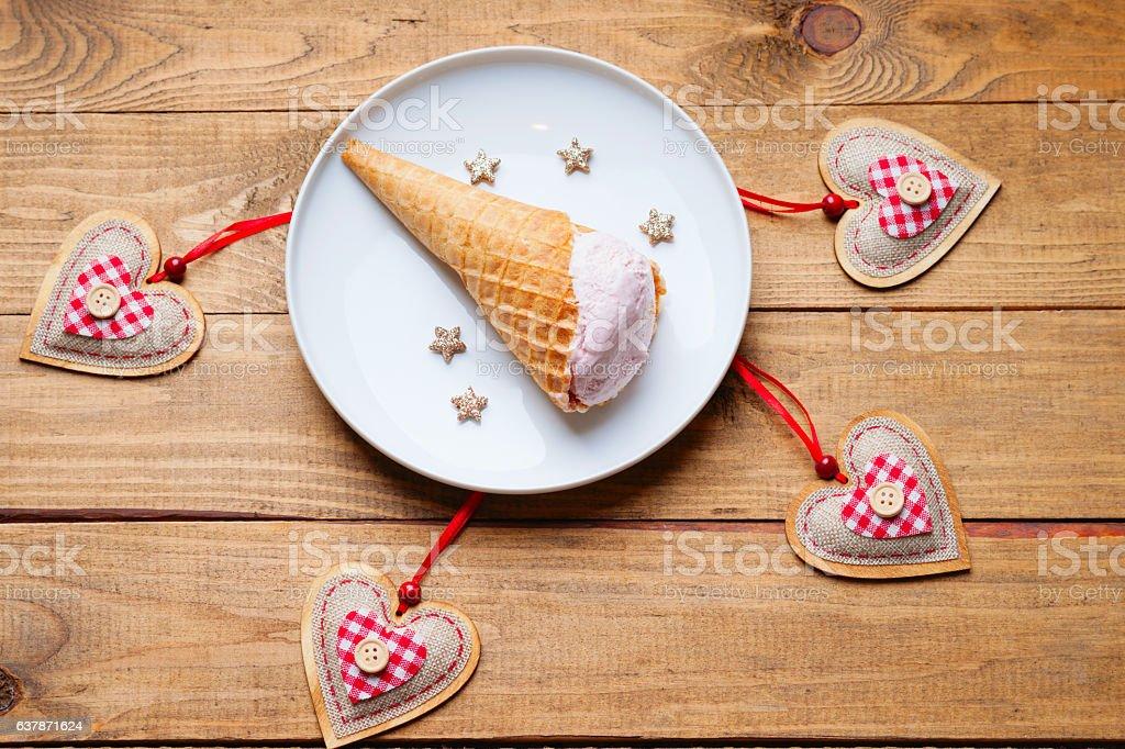Ice cream and heart shapes stock photo