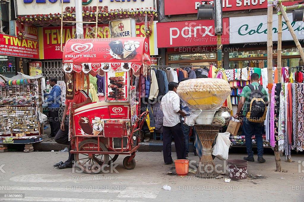 Ice cream and street food, Kolkata, India stock photo