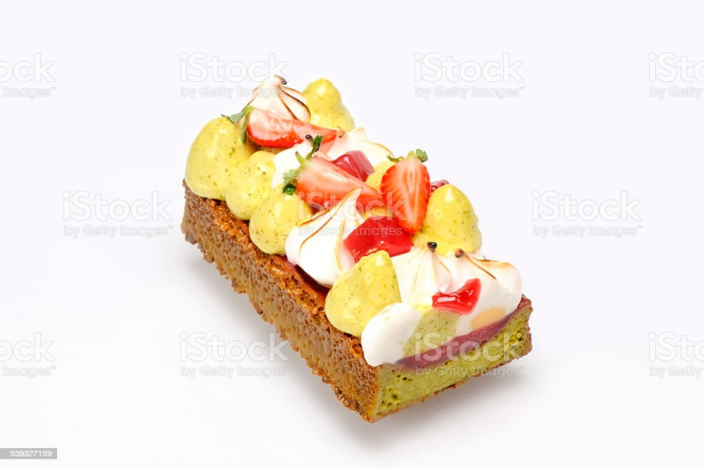 Ice cream cake with strawberries stock photo