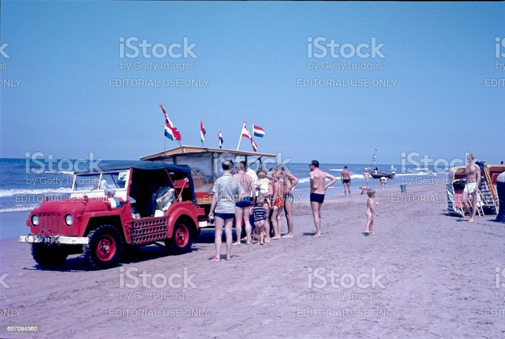 Ice cream car on the Beach of Zandvoort, Netherlands stock photo