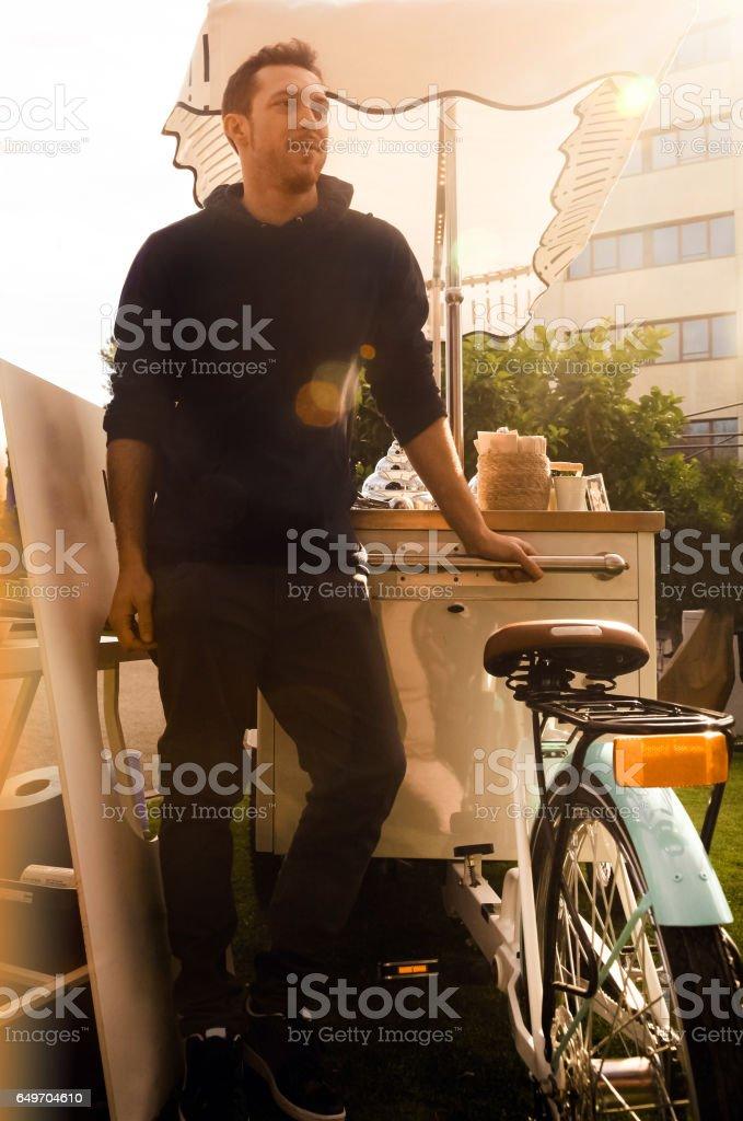 Ice cream cart stock photo