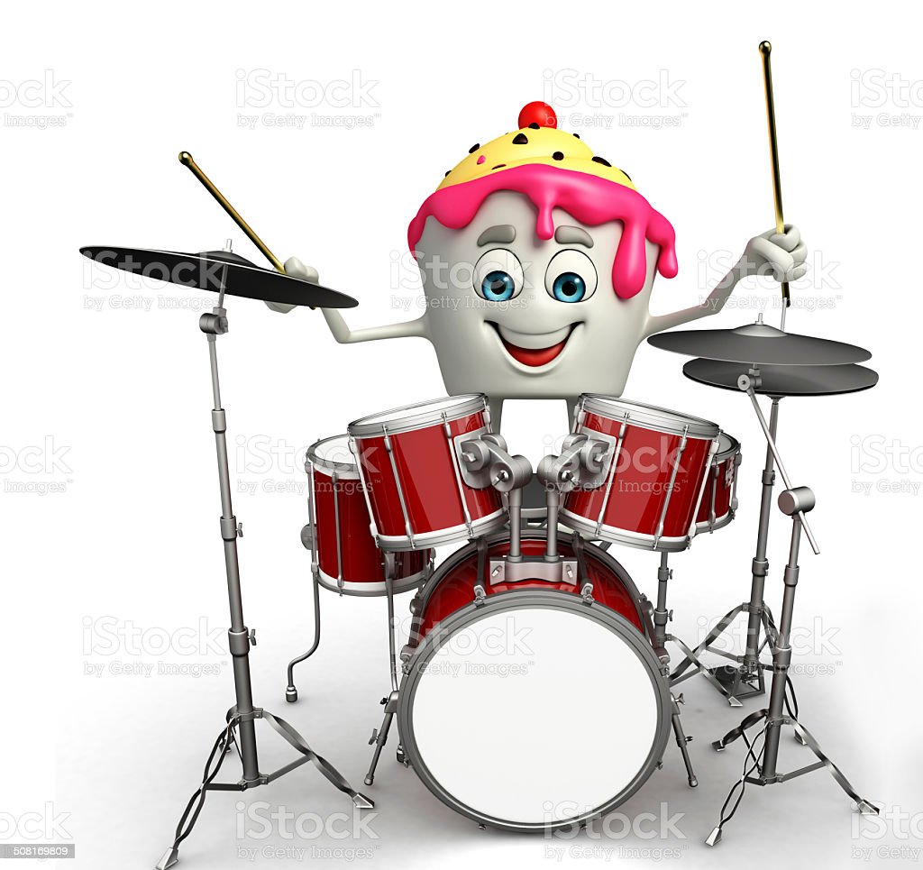 Ice Cream character with drum set stock photo