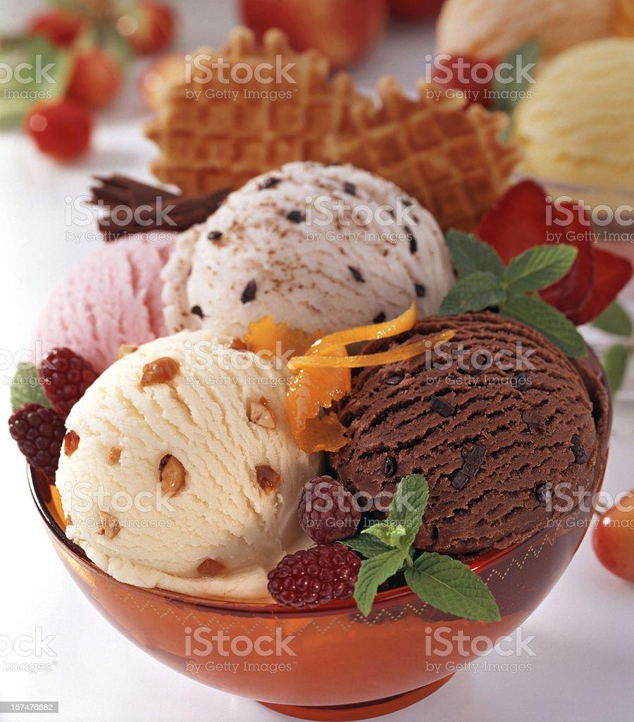 Ice cream composition stock photo