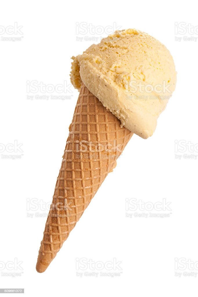 ice cream cone with a scoop of vanilla ice cream isolated stock photo