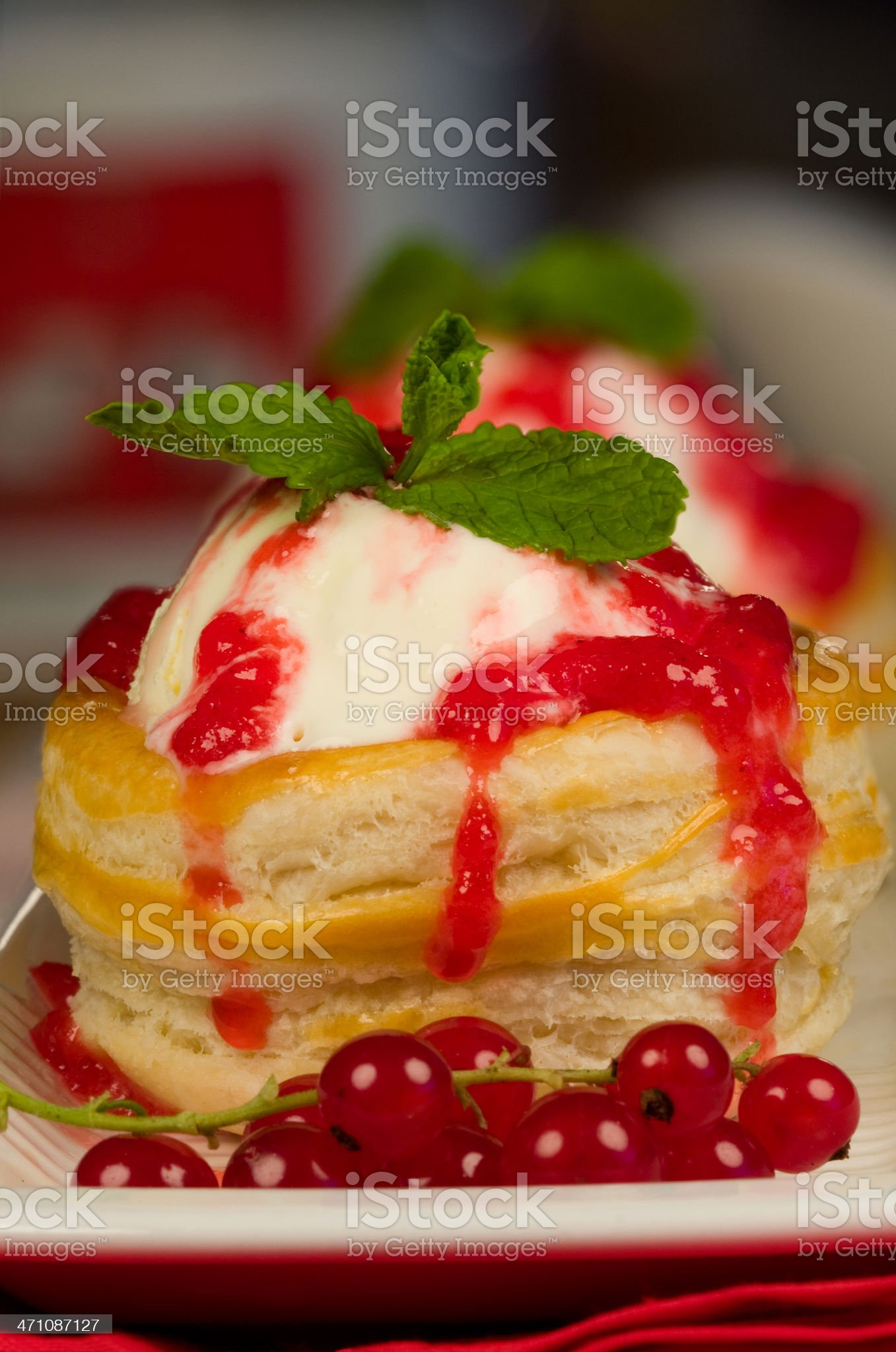 Ice cream dessert and red currants dressing royalty-free stock photo