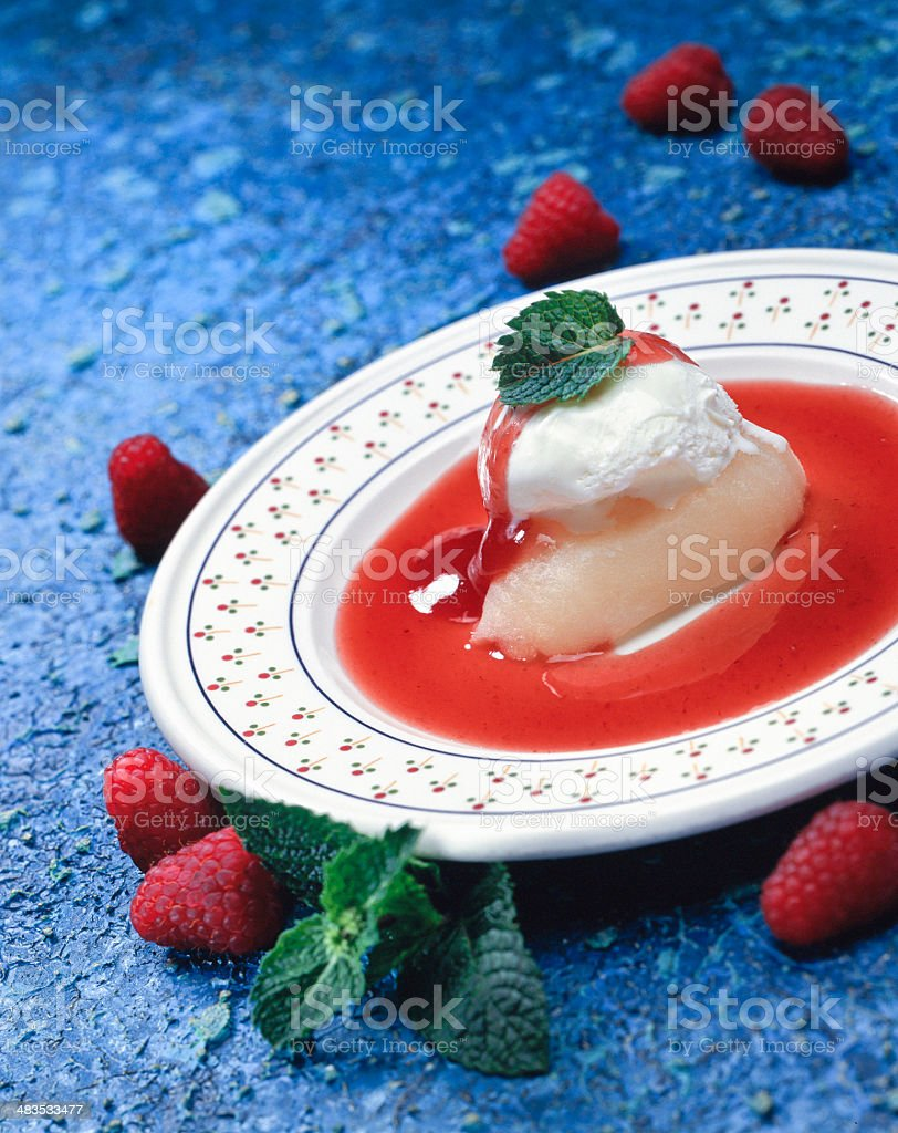 Ice cream Dessert with fresh raspberries royalty-free stock photo