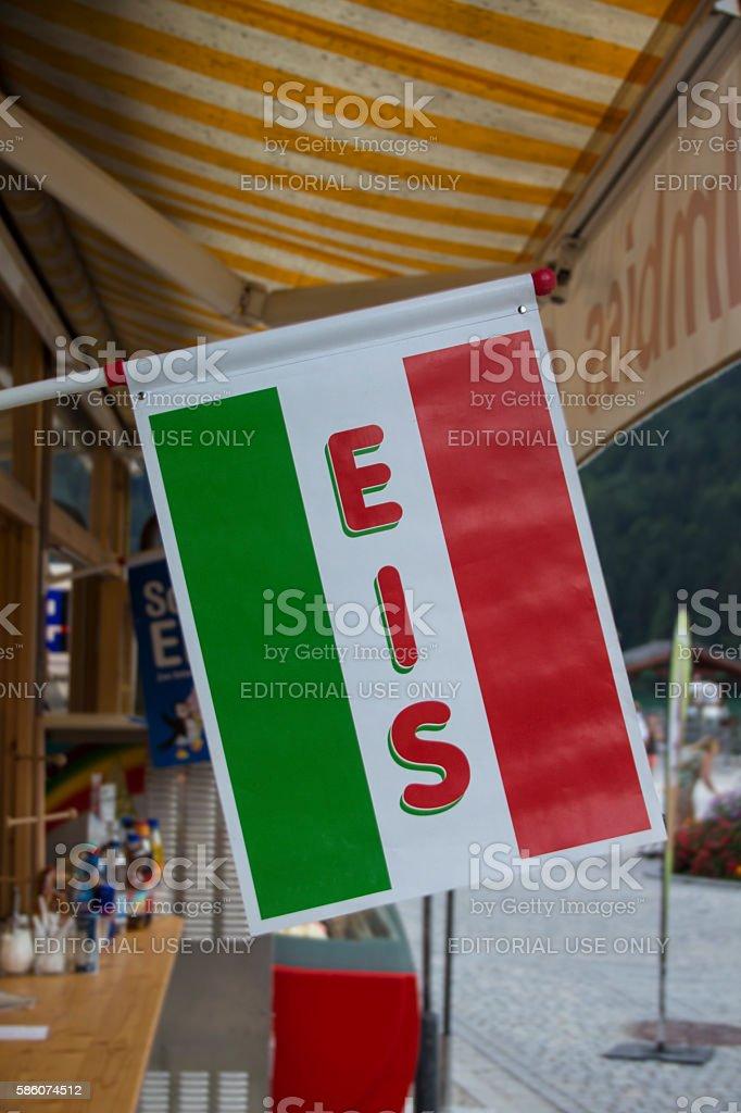 Ice cream flag in Schoenau, Germany, 2015 stock photo