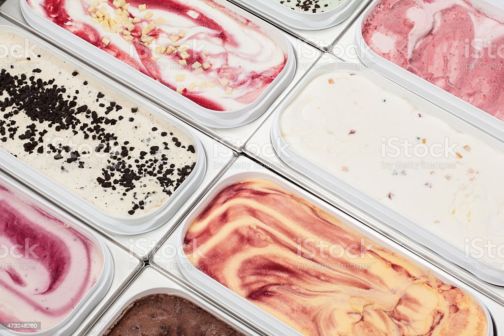 Ice Cream Flavours In Scooping Display stock photo