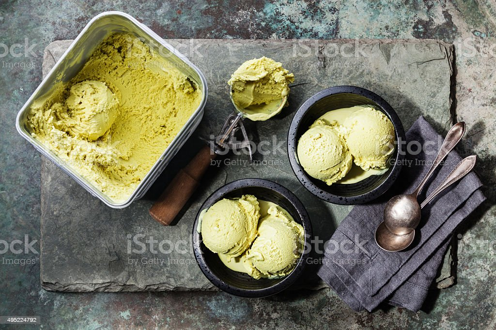 Ice cream Green tea and Spoon for ice cream stock photo