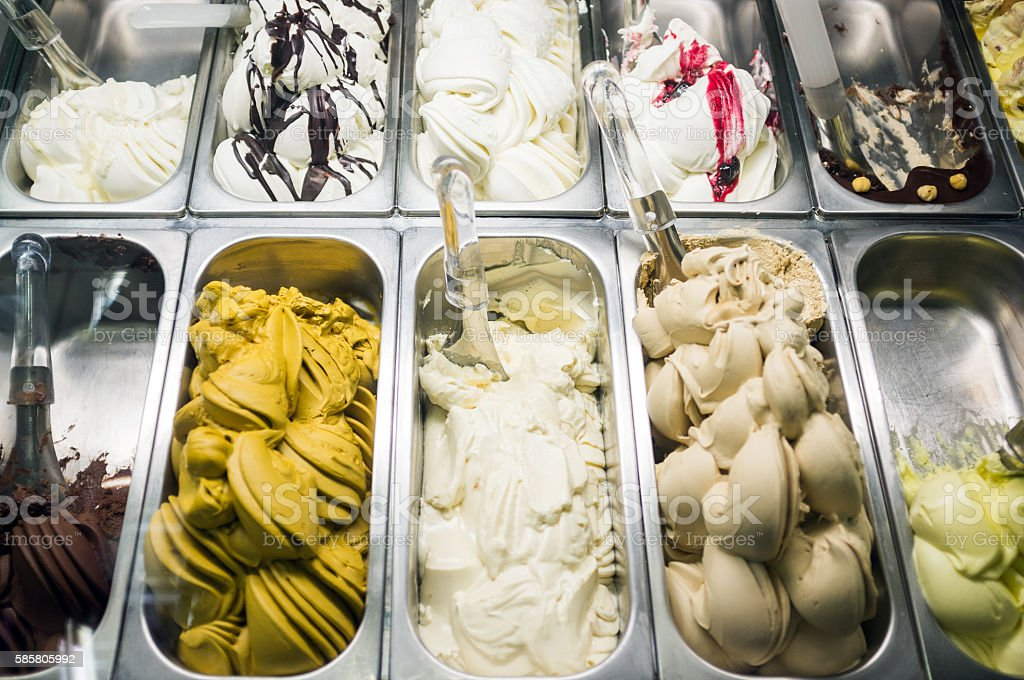 Ice cream in italian gelateria stock photo