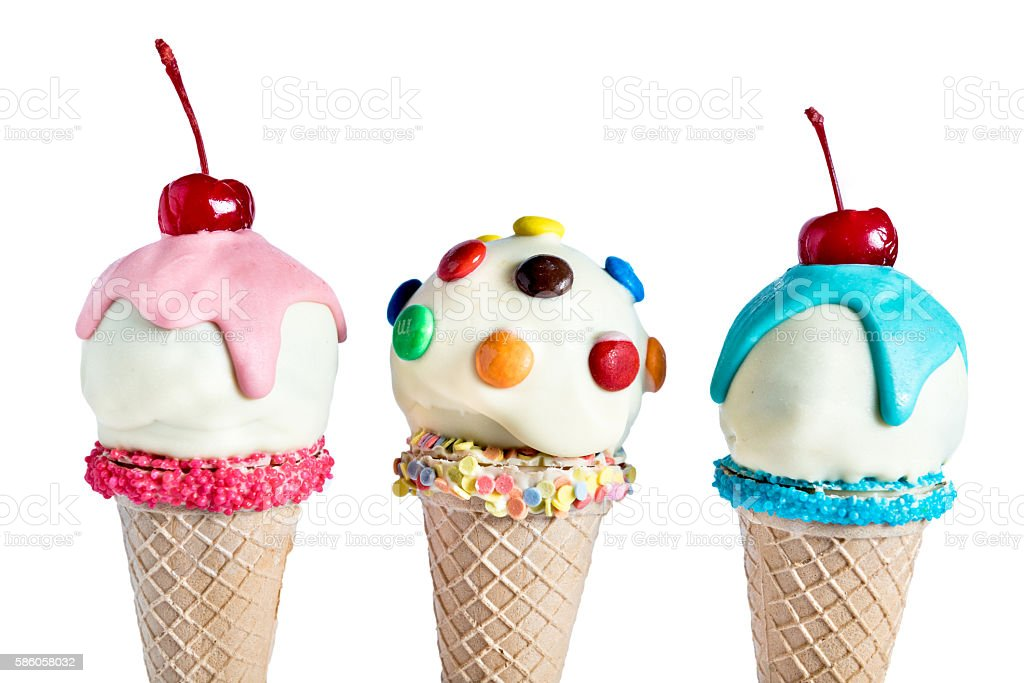 Ice cream in the cones stock photo