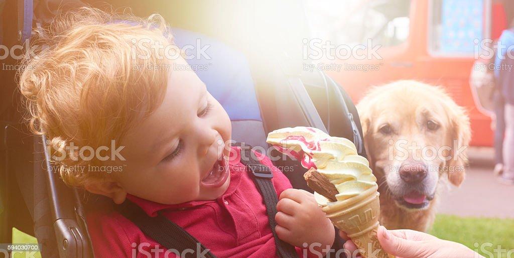 Ice Cream in the park stock photo