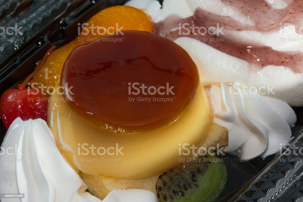Ice cream mix pudding with fruit. stock photo