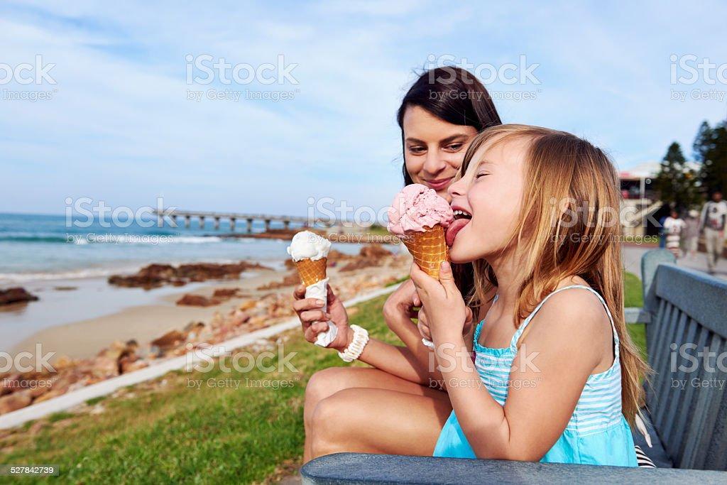 ice cream mom daughter stock photo