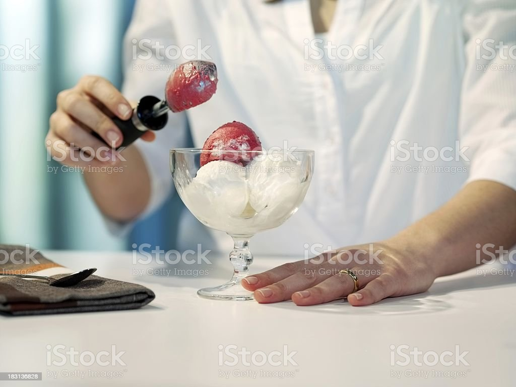 Ice cream prepared the woman royalty-free stock photo