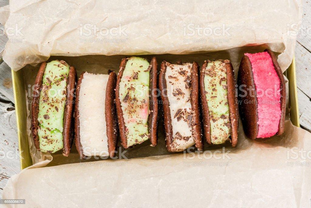 Ice cream sandwich with whoopie pie cookies stock photo