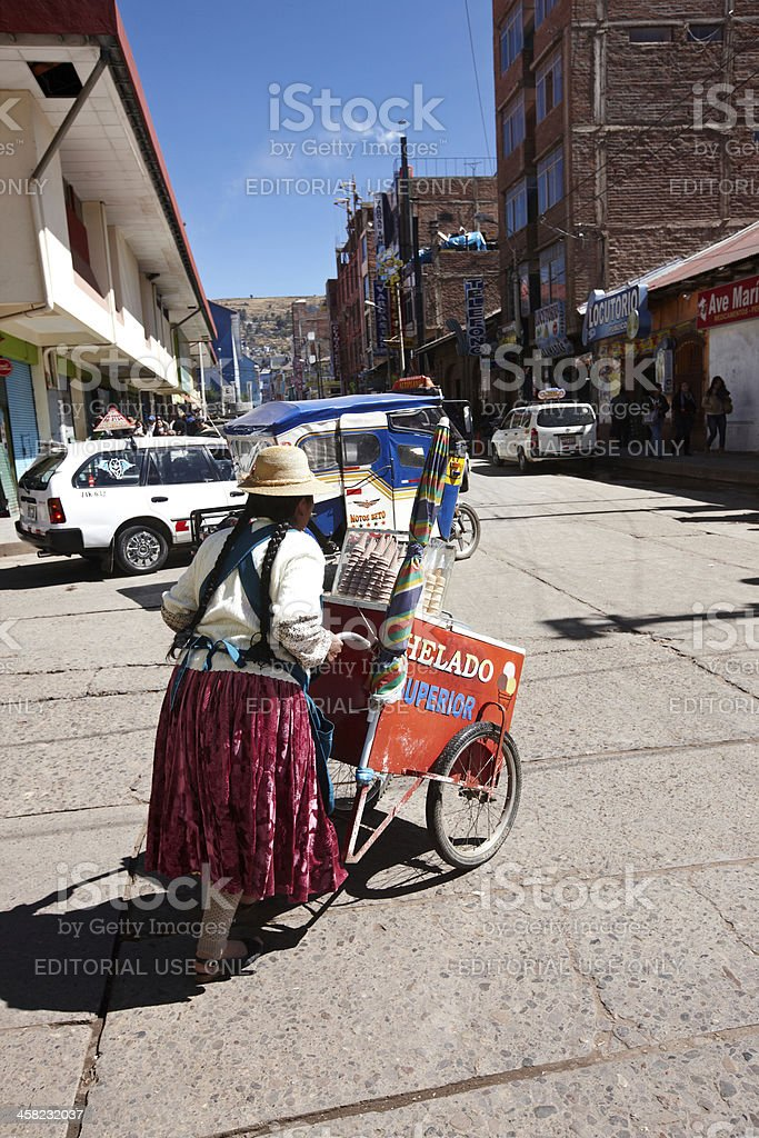 Ice cream  seller on Puno roadside royalty-free stock photo