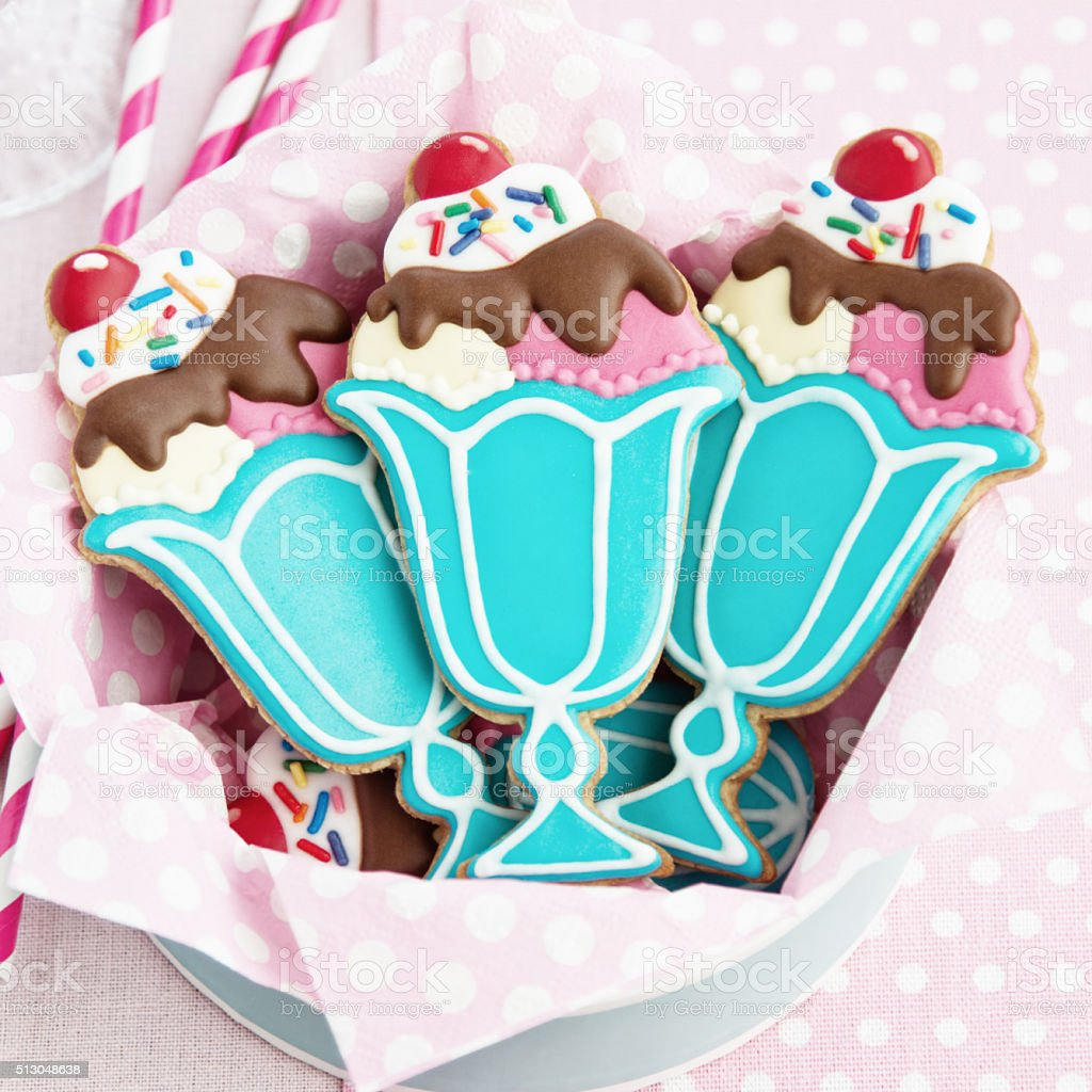 Ice cream sundae cookies stock photo