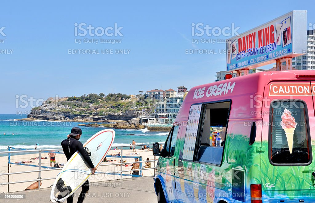 Ice Cream Truck and Surfer stock photo