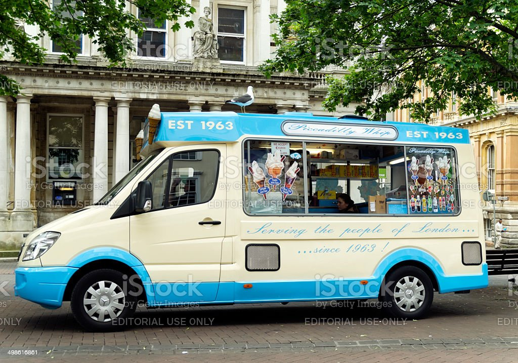 Ice cream van with large seagull stock photo