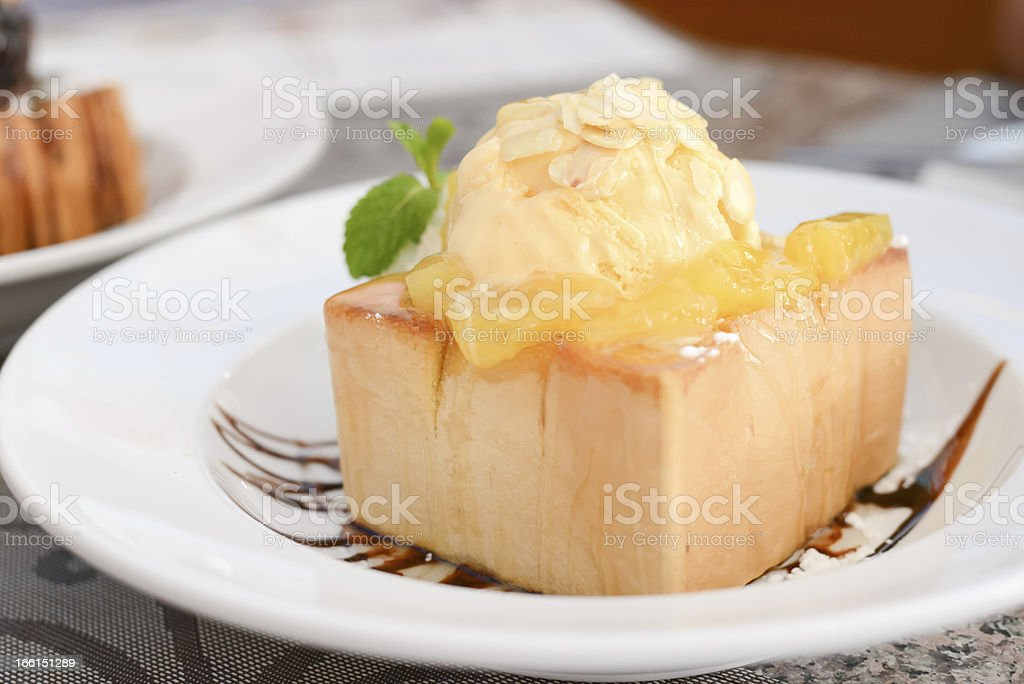 Ice cream with bread on plate royalty-free stock photo