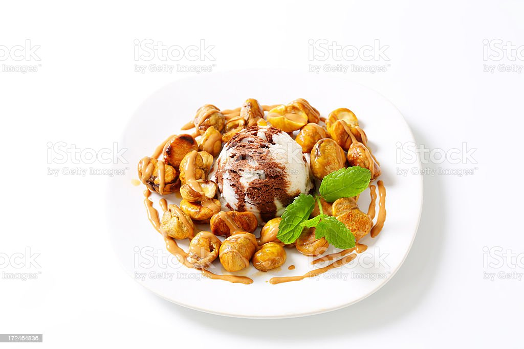 ice cream with chestnuts royalty-free stock photo