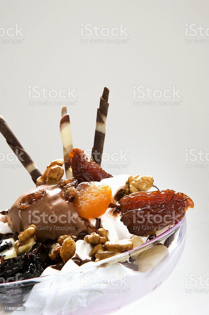 ice cream with dried fruit stock photo